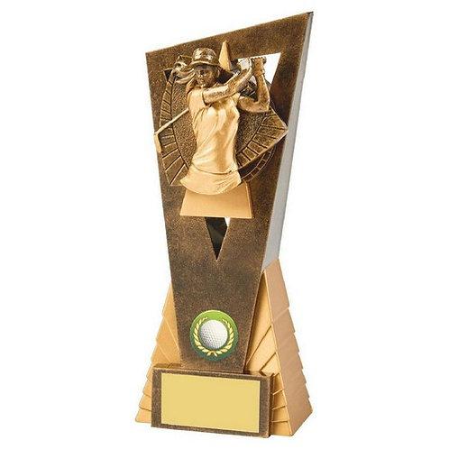 Antique Gold Female Golf Edge Award - 210mm