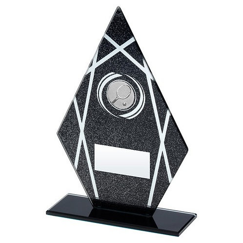 Black/Silver Printed Glass Diamond With Tennis Insert Trophy - 165 mm