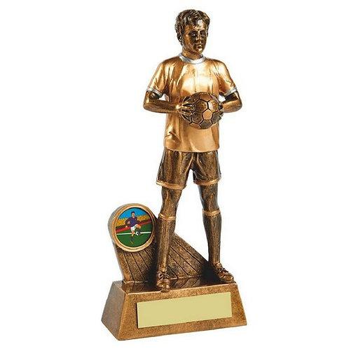 Antique Gold Standing Male Footballer Resin - 205mm