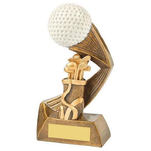 Antique Gold/White Golf Bag/Ball Resin - 160mm