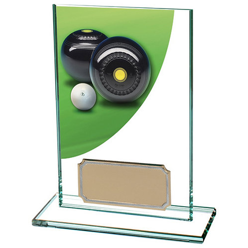Colour Curve Lawn Bowls Jade Glass Award - 125mm