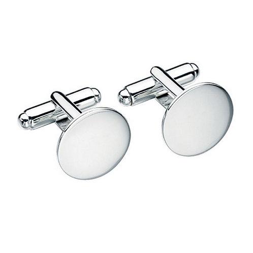 Solid silver round cuff links in presentation box