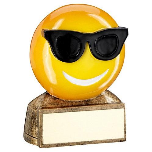 Brz/Yellow/Black 'Sunglasses Emoji' Figure Trophy - 70 mm