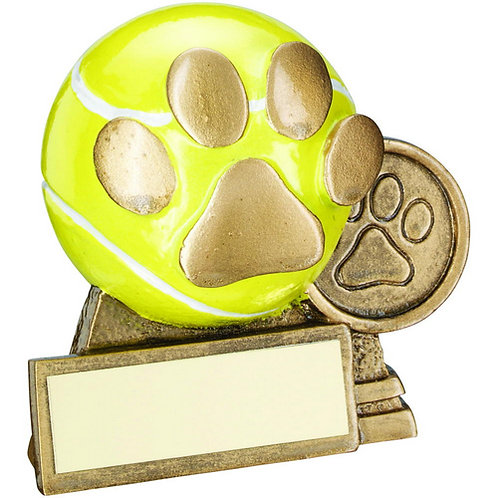 Brz/Gold/Yellow 3D Mini Tennis Ball With Dog Paw Trophy - 76 mm
