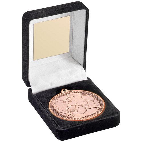 Black Velvet Box And 50mm Medal Football Trophy Bronze - 89 mm