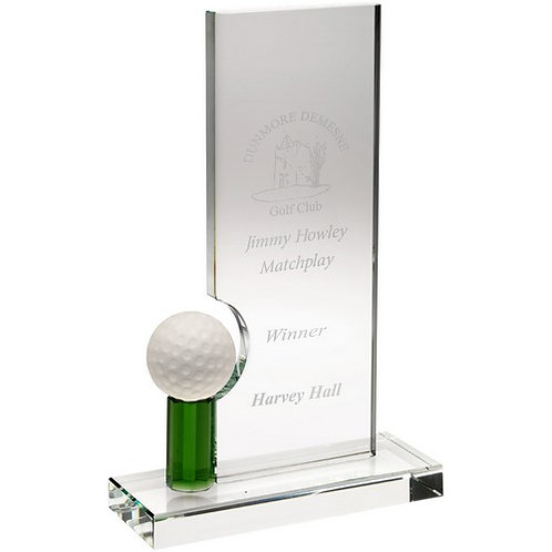 Clear/Green Glass Rectangle With Golf Ball (10mm Thick) - 222 mm