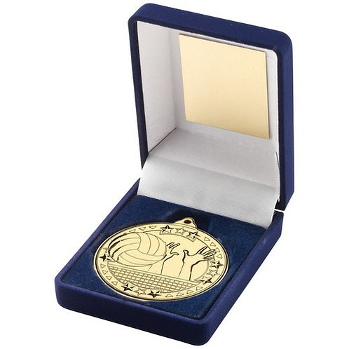 Blue Velvet Box And 50mm Medal Volleyball Trophy Gold - 89 mm