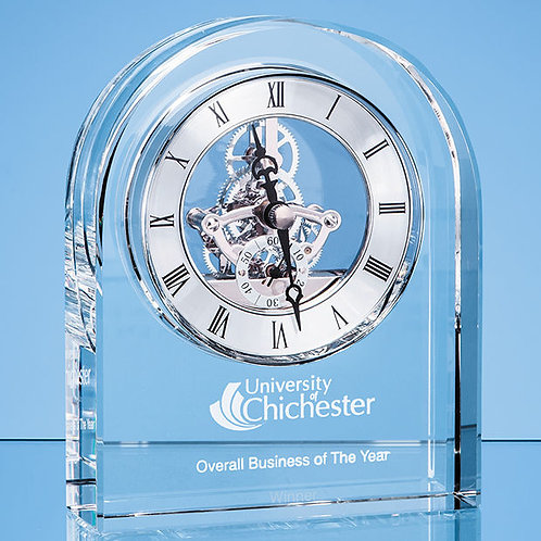 Shire County | Tik-Tok | Optical Crystal Arched Clock|Free Engraving