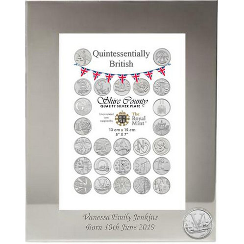 Photo Frame with British Coin | Villages | Letter V | Free Engraving