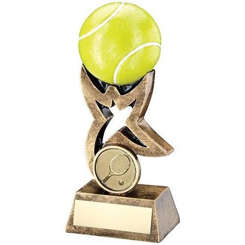 Brz/Gold/Yellow Tennis Ball On Star Riser Trophy - 140 mm