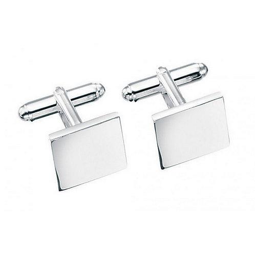 Solid silver square cuff links in presentation box