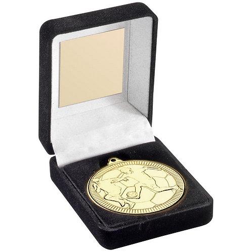 Black Velvet Box And 50mm Medal Football Trophy Gold - 89 mm