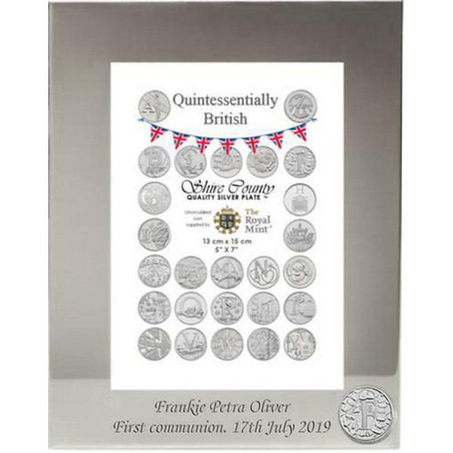Photo Frame with British Coin | Fish and Chips | Letter F | Free Engraving