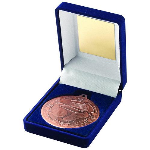 Blue Velvet Box And 50mm Medal Football Trophy Bronze - 89 mm