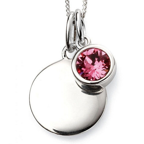 October Birthstone Pendant with engraved pendant