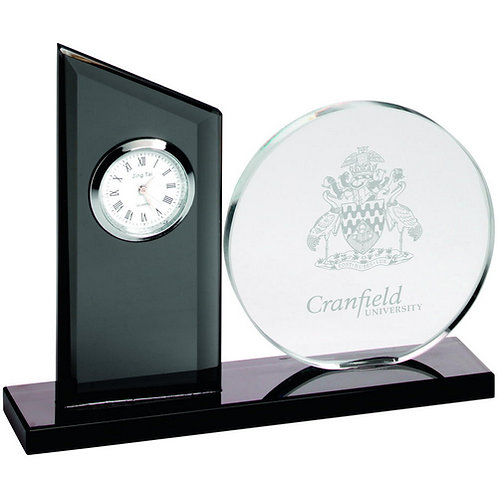 Clear/Black Glass Clock And Round Plaque - 133 mm