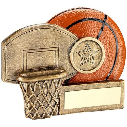 Basketball And Net Chunky Flatback Trophy - 70 mm