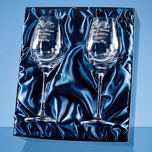 Diamante Spiral Wine Glasses | Silklined Box of 2  | Free Engraving