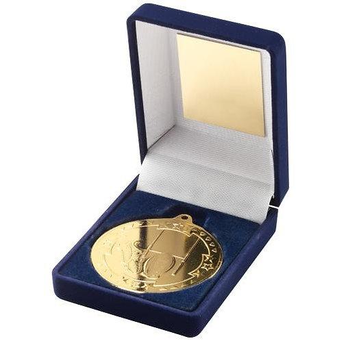Blue Velvet Box And 50mm Medal Rugby Trophy Gold - 89 mm