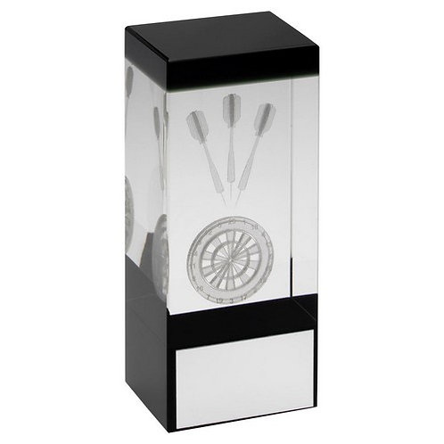 Clear/Black Glass Block With Lasered Darts Image Trophy - 140 mm
