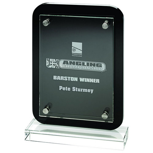 """Black Plaque With Clear Base And Removable Front - (Glass 4.25 x 6"""") - 197 mm"""