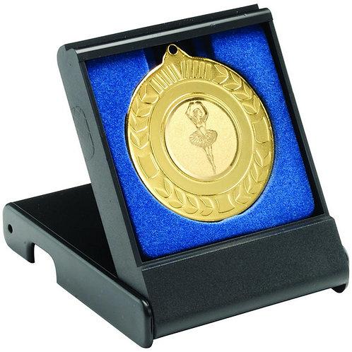 Black Medal Box - Small (40/50Mm Recess Blue Insert)  - 89 mm