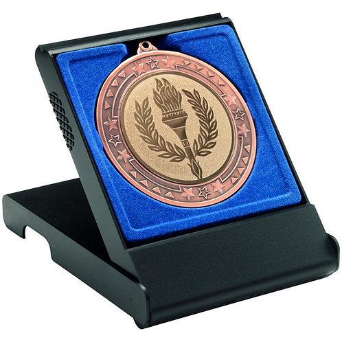 Black Medal Box - Large (50/60/70Mm Recess Blue Insert)  - 121 mm
