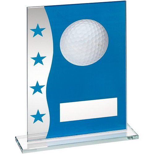 Blue/Silver Printed Glass Plaque With Golf Ball Image Trophy - 203 mm