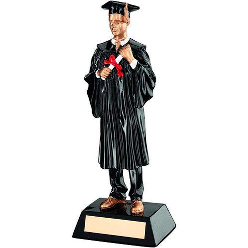 Black/Gold Resin Male Graduate Trophy - 235 mm