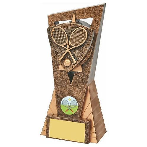 Antique Gold Tennis Edge Trophy - 180mm