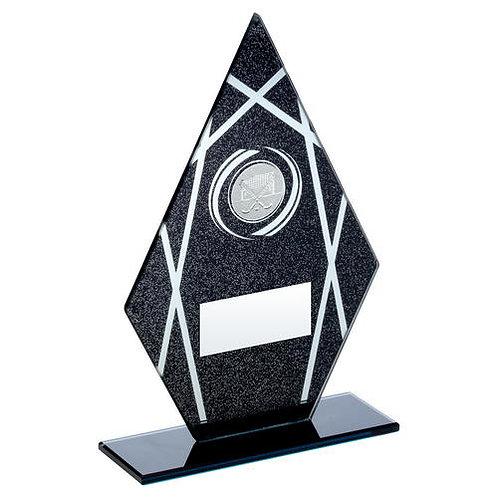 Black/Silver Printed Glass Diamond With Hockey Insert Trophy - 165 mm