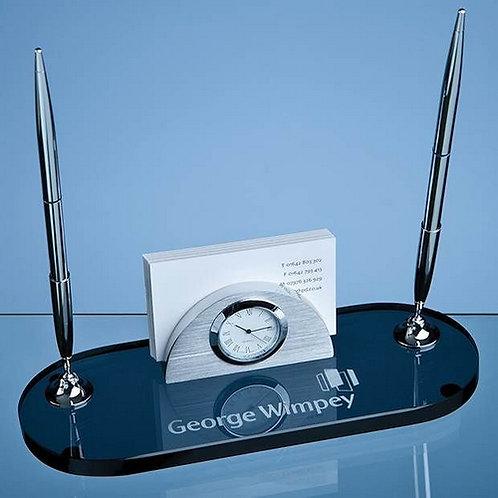 Smoked Glass Desk Set | 215mm | Free Engraving