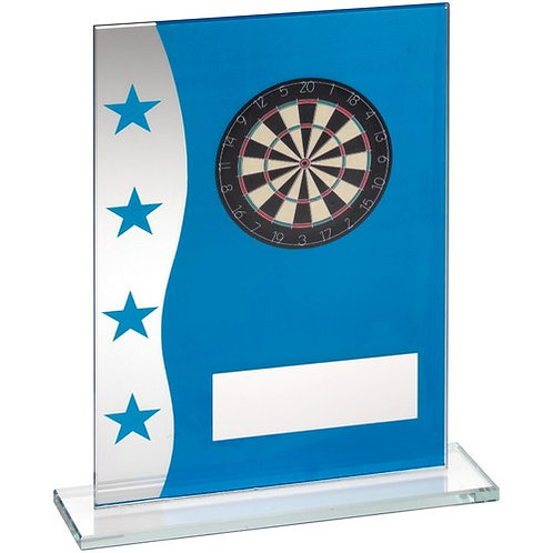 Blue/Silver Printed Glass Plaque With Dartboard Image Trophy - 165 mm
