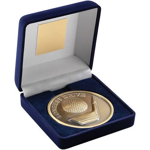 """Blue Velvet Box And 70mm Medallion Golf Trophy Longest Drive 4"""" - 102 mm"""
