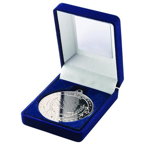 Blue Velvet Box And 50mm Medal Motor Sport Trophy Silver - 89 mm