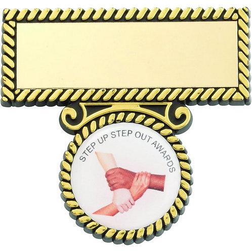 Black/Gold Plastic Badge And Bar - 51 mm