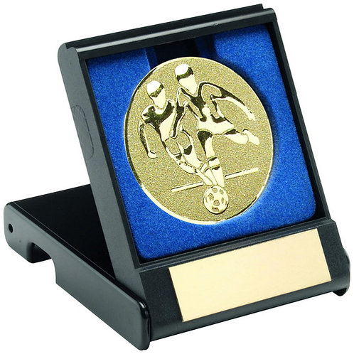 Black Plastic Box With Football Players Insert Gold - 89 mm