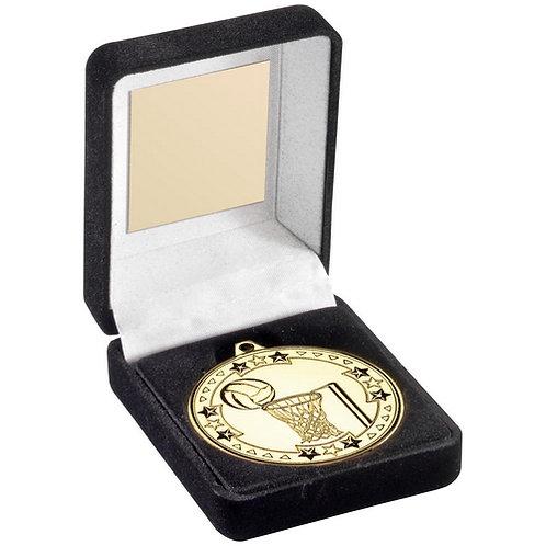 Black Velvet Medal Box And 50mm Medal Netball Trophy Gold - 89 mm