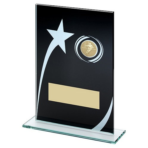 Black/White Printed Glass Plaque With Rugby Insert Trophy - 165 mm