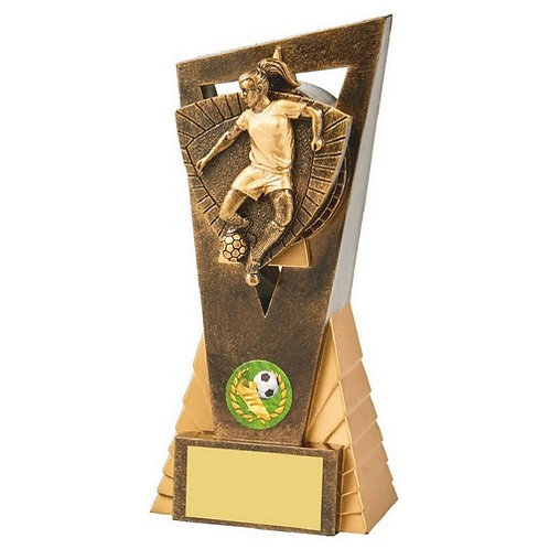Antique Gold Female Footballer Edge Trophy - 180mm