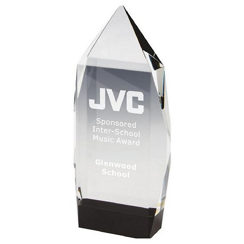 Clear Crystal Award with Black Base - 190mm