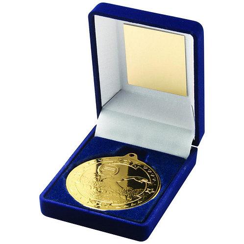 Blue Velvet Box And 50mm Medal Swimming Trophy Gold - 89 mm