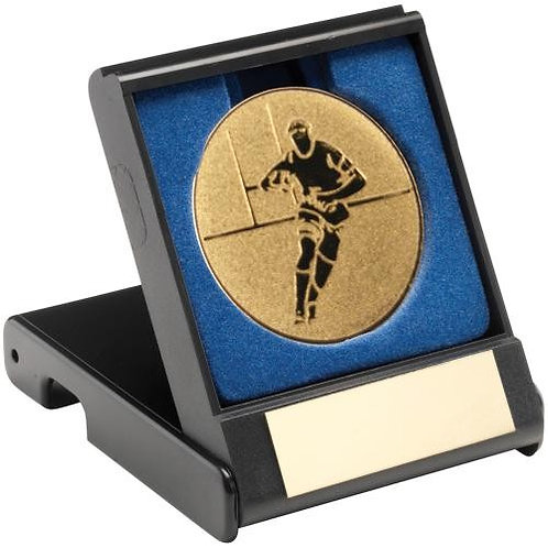 Black Plastic Box With Rugby Insert Trophy Gold - 89 mm