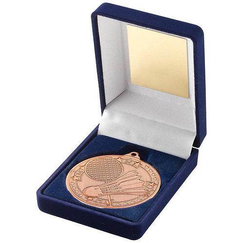 Blue Velvet Box And 50mm Medal Badminton Trophy Bronze - 102 mm