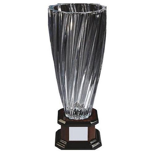 Bohemia Crystalite Twist Vase Award on Wood Stand - 380mm
