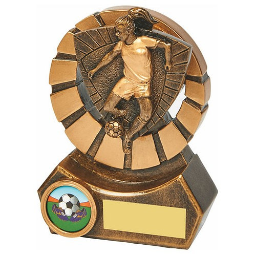 Antique Gold Female Footballer Resin - 120mm
