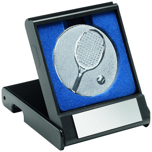 Black Plastic Box With Tennis Insert Trophy Silver - 89 mm