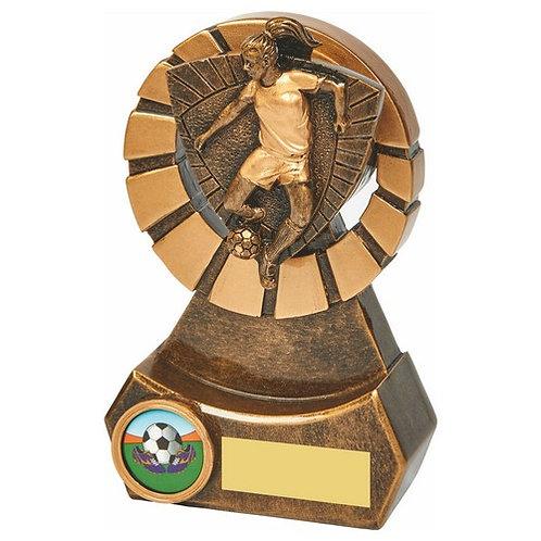 Antique Gold Female Footballer Resin - 140mm