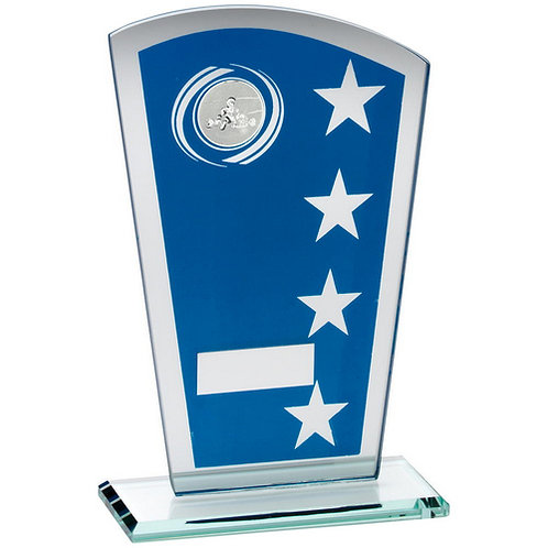 Blue/Silver Printed Glass Shield With Go-Kart Insert Trophy - 184 mm