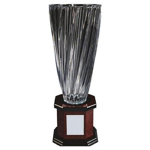 Bohemia Crystalite Twist Vase Award on Wood Stand - 500mm